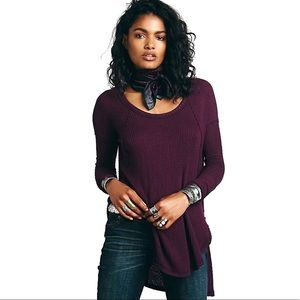 Free People Thermal Knit High Low Top